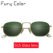 Glass lens Retro metal hexagonal round sunglasses men women