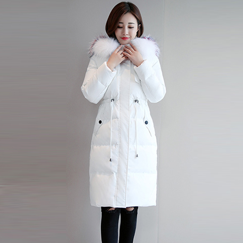 Fashion Big Fur Hooded   Down     Coats   Women Slim Long Thicken Warm   Down   Jackets Female Casual 90% White Duck   Down   Parkas FP1609