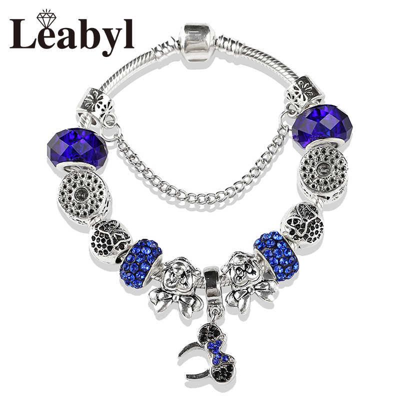 2019 Европейский Модный Королевский синий Минни хрустальные бусины P браслеты и браслеты ручной работы серебряный цвет Микки браслет из бисера подарок