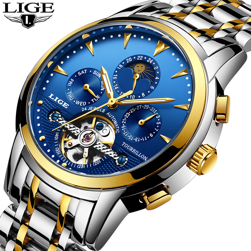 LIGE Mens Watches Top Brand Luxury Men Business Aomatic Mechanical Watch Men's Tourbillon Stainless Steel Waterproof Watch+Box lige mens watches top brand luxury fashion business casual watch men stainless steel waterproof automatic mechanical watch box