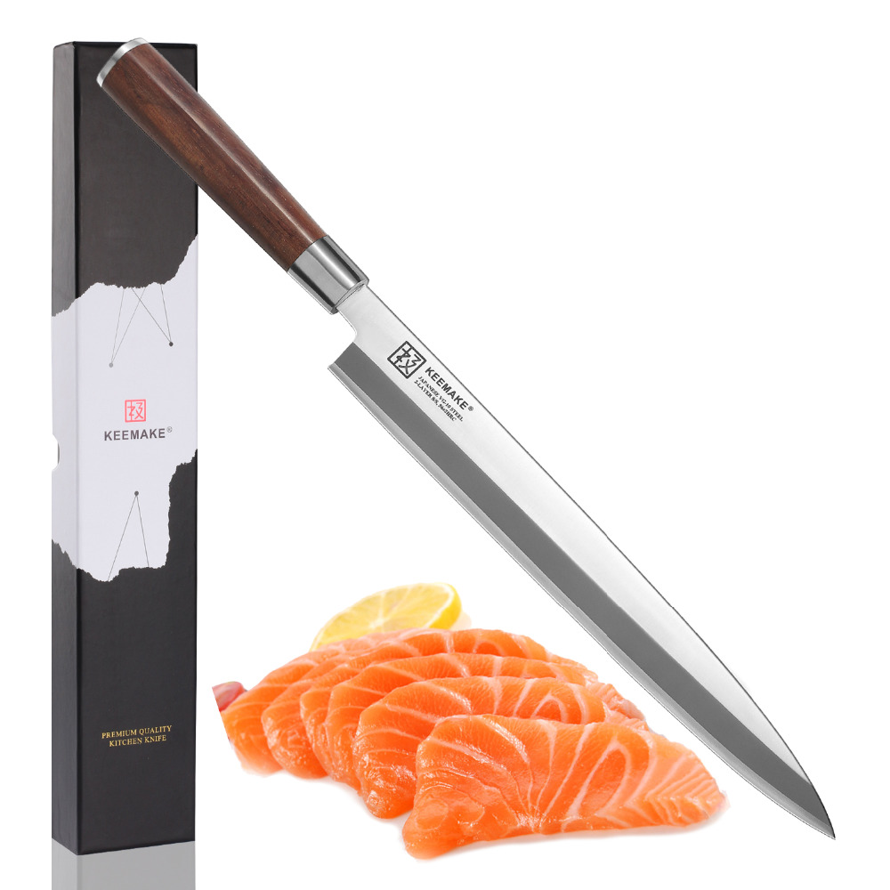 KEEMAKE 10 5 inch Professional Sashimi Kitchen Knife Stainless Steel Single Edge Sharp Blade Cooking Knives