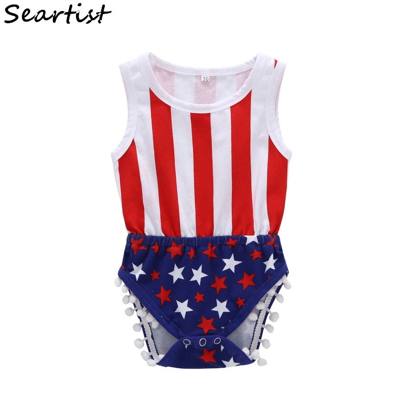 Seartist July 4th Bodysuit Baby Boys Girls Summer Jumpsuit for 4th July Bebes Kids Baby Boy Girl Clothes Newborn Clothes 40G