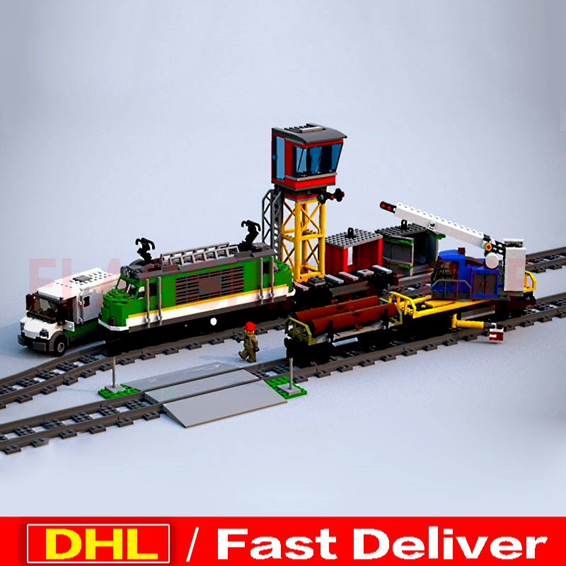 LP 02118 City Series The Legoingly 60198 Cargo Train Set Building Blocks Bricks Car Model Kids Toys Birthday Christmas Gifts