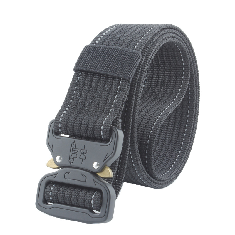 Mens Tactical Canvas Belt Military Nylon 4.8 CM Wide Belt For Trousers Long Training Belt Metal Buckle Waist Belts 125 Cm