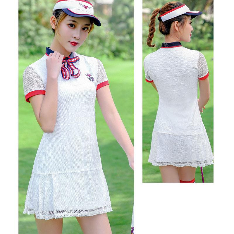 Plaid Women Golf Dresses Ladies Short-sleeved Female Breathable White Round Neck Short Divided Dress 4 Size Sportswear