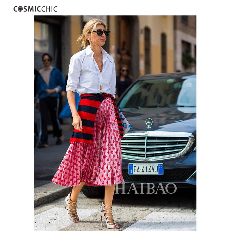 Cosmicchic Womens Summer Pleated Skirt Pink Heart Pattern Ruffle Long Skirt Lady Lolita Faldas Skirts Runway