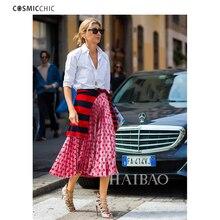 Cosmicchic Womens Summer Pleated Skirt Pink Heart Pattern Ruffle Long Skirt Lady Lolita Faldas Skirts Runway High Quality 2018