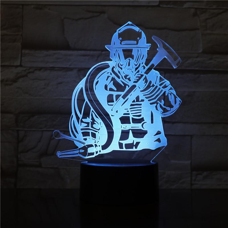Fireman 3D LED Modeling USB Night Lights Creative Firefighter Table Lamp Home Decor 7 Colors Changing Sleep Lighting Kids Gifts
