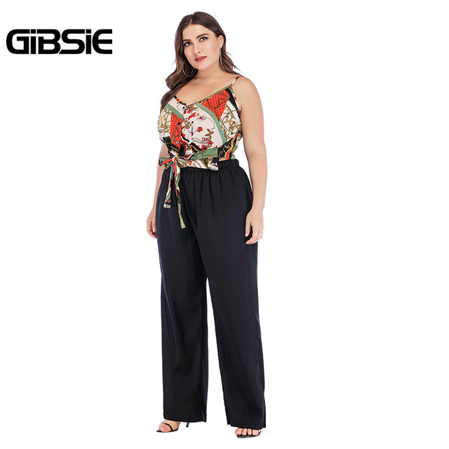 GIBSIE Plus Size Summer 2 Piece Set Mixed Print V Neck Tie Cami Top and Wide Leg Pants Sets Casual Women Two Piece Outfits 1