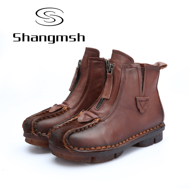 Shangmsh women's winter boots genuine leather Retro Soild Flat with Ankle Boots Soft Casual Ladies Shoes Plus Size Women Shoes