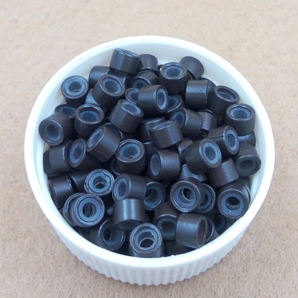 1000st 4.5mm silikonfodrad Micro Links Rings Pärlor - Hårvård och styling - Foto 4