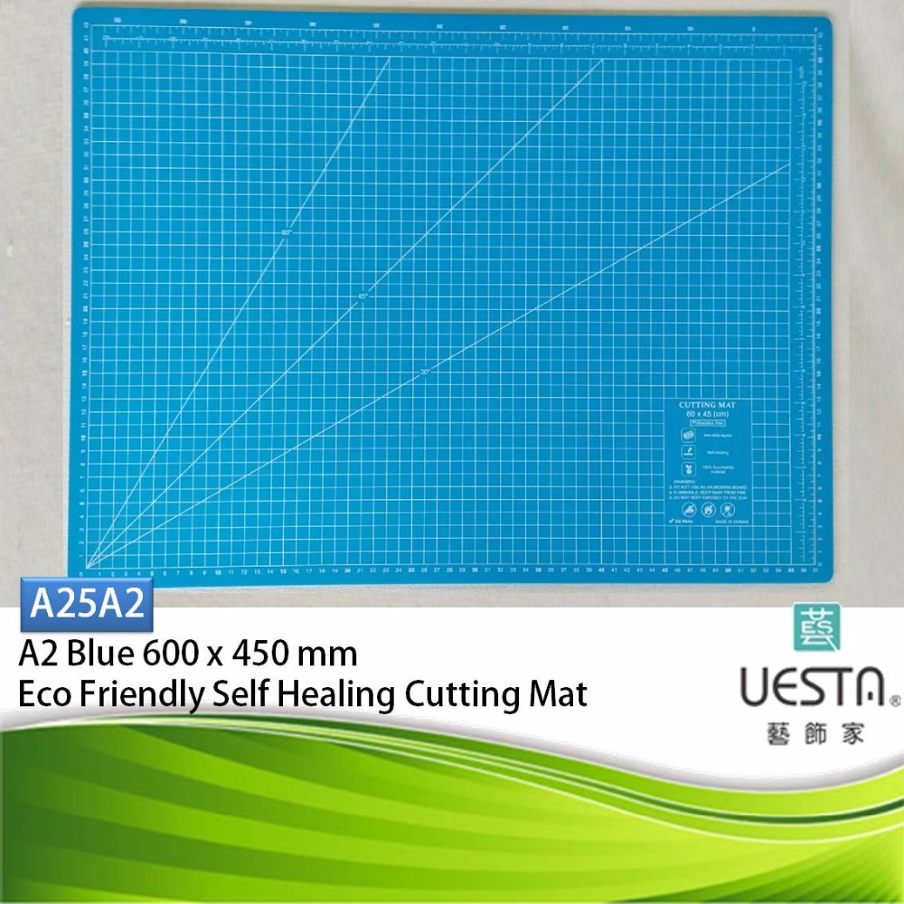 Blue Color Quilting 2.5 mm Rectangle Self Healing Eco Friendly TPE Cutting Mat A2 60 by 45 cm 24 by 18 inch Sewing Cutter UESTA
