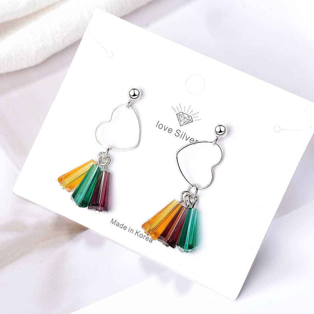 Anenjery 925 Sterling Silver Love Heart Earrings Multicolored Artificial Crystal Rainbow Tassel Earrings For Women S-E659