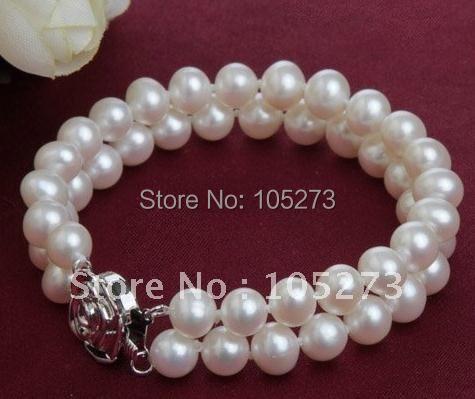 Pérola jóias AA 6 - 7 MM 2 linhas branco pérola de água doce genuíno pulseira de moda de jóias nova frete grátis