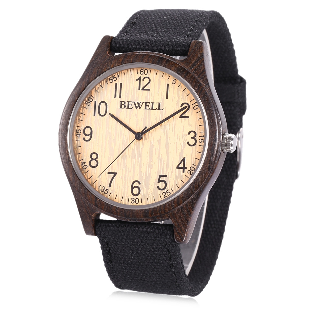 BEWELL Case Wristwatch Wood Fashion Analog Quartz Canvas Zs-W888 Band Scale Numeral Men