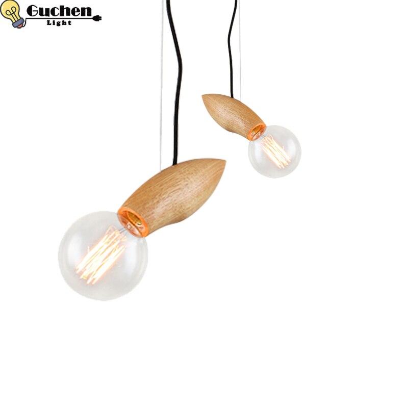 Modern Wood Pendant Lights Edison Hanging lamp bedside/mirror/kitchen Restaurant Fixtures Luminaire Nordic desgin pendant lamps