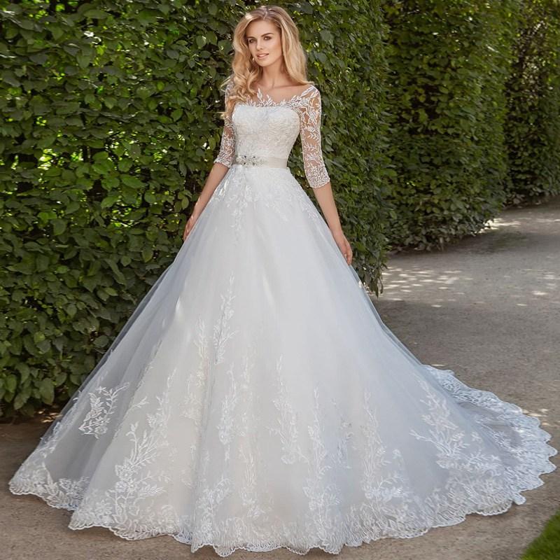 Vintage Lace Wedding Dresses 2019 Chapel Train Vestidos De Novia Half Sleeve Bridal Gowns Custom Made Trouwjurk Weding Dress