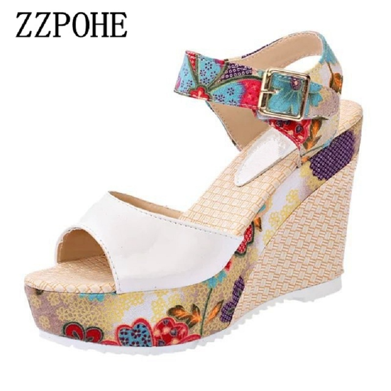 ZZPOHE Women Sandals Summer New Woman Fashion Platform High Heels Open Toe Wedge Sandals Soft Leather Sexy Casual Female Shoes e toy word summer platform wedges women sandals antiskid high heels shoes string beads open toe female slippers