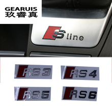 6pcs Car styling Metal Car Door/window Emblem 3D Decoration S line RS3 RS4 RS5 R8 RS6 Stickers For Audi S Sports A3 A4 A5 A6 A8