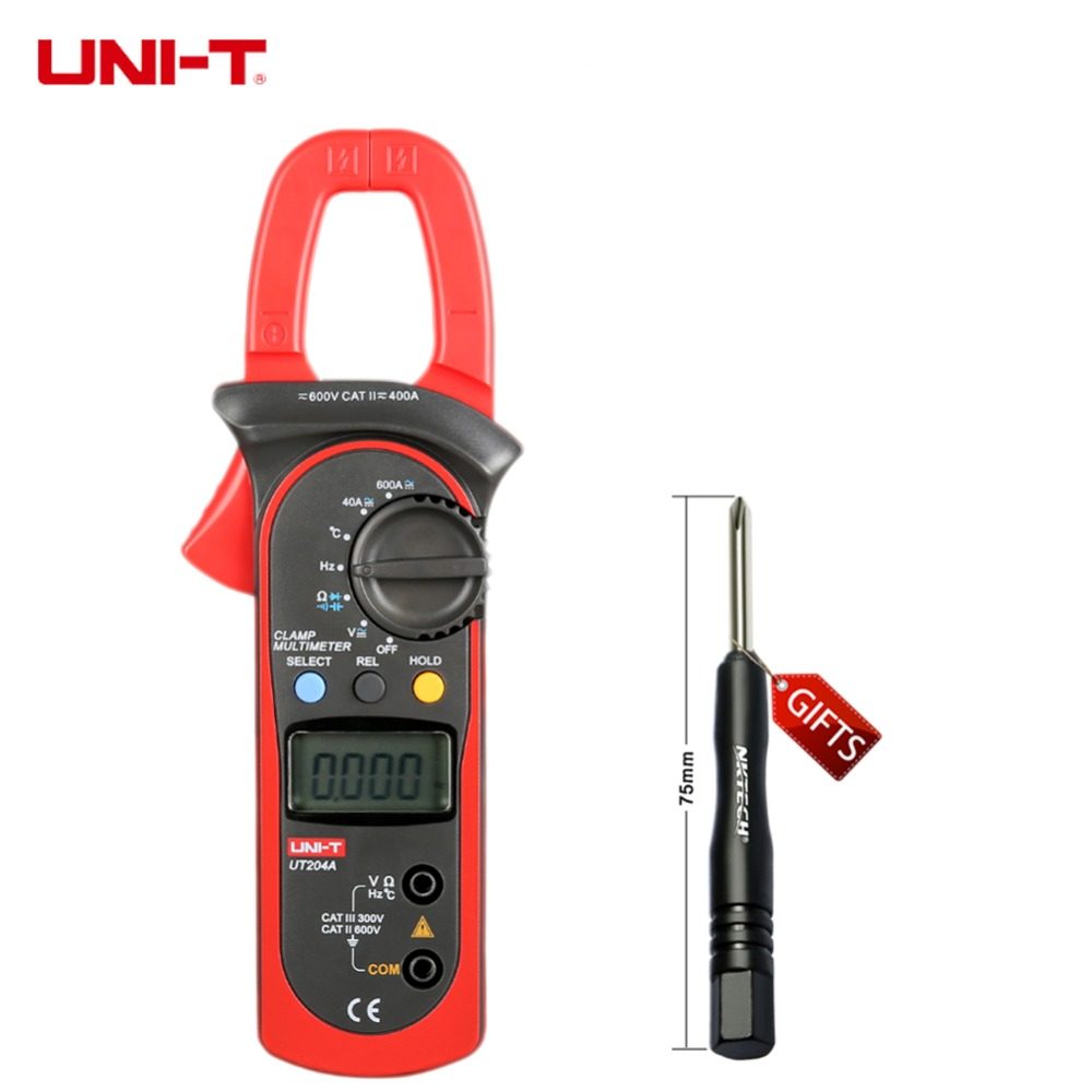 цены на UNI-T UT203 UT204 UT204A 600A AC DC Digital Clamp Meters With Temperature Test Auto Range 600V Voltage Continuity Buzzer в интернет-магазинах