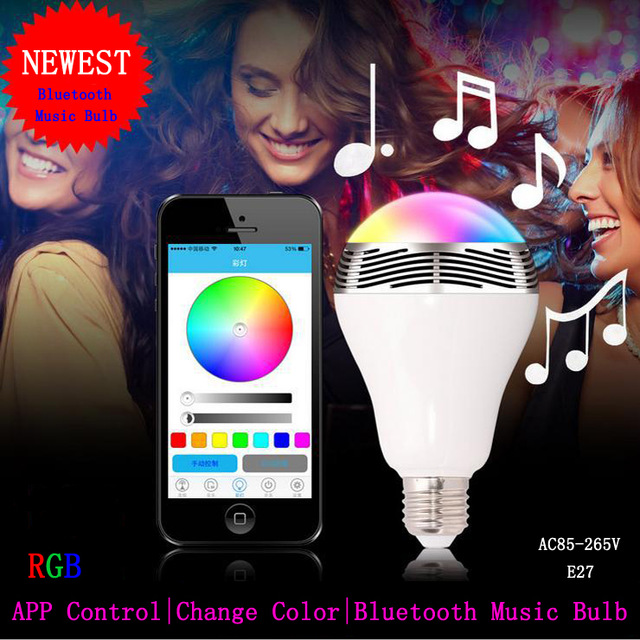 Wireless Smart Bluetooth E27 LED Lighting Bulb with playing Music speaker change colour via IOS and Android