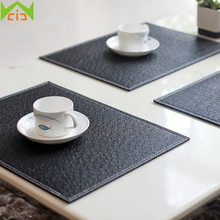 WCIC Ostrich Pattern Kitchen Table Mat Non Slip Drink Coasters Pad PU Leather  Table Mats For