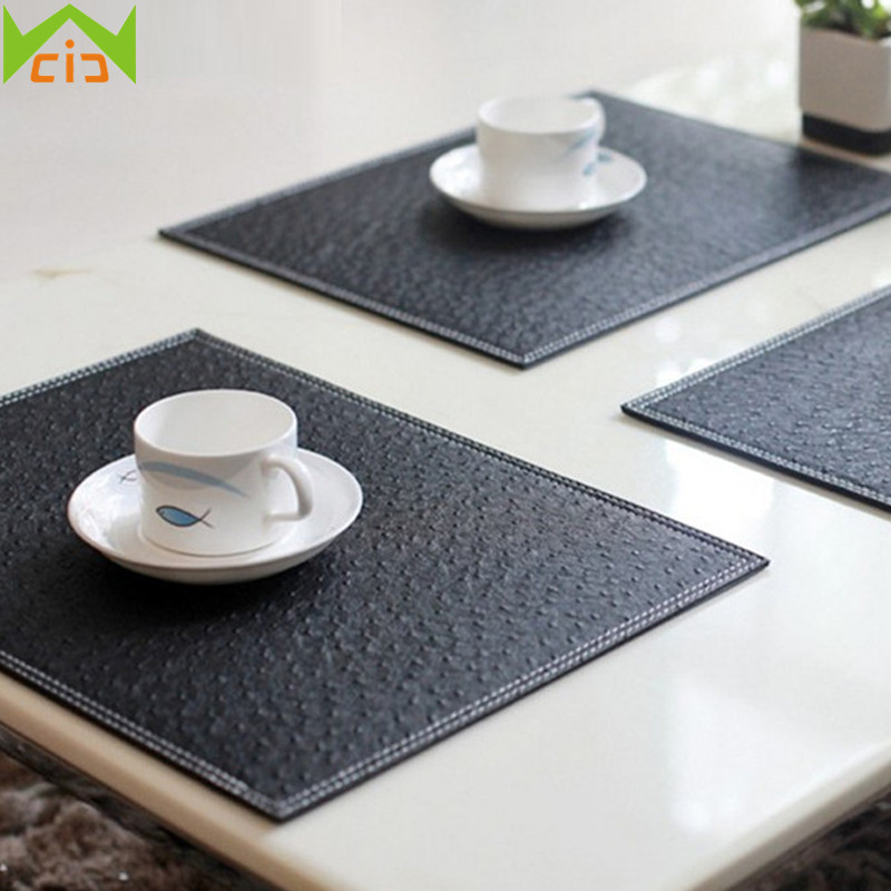 WCIC Ostrich Pattern Kitchen Table Mat Non Slip Drink Coasters Pad PU Leather Table Mats for Dining Table Decorative Placemats