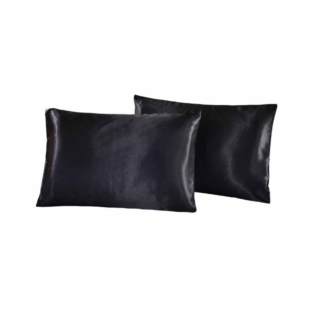 2pcs Silk Satin Pillowcase Soft Envelope Pillow Cover