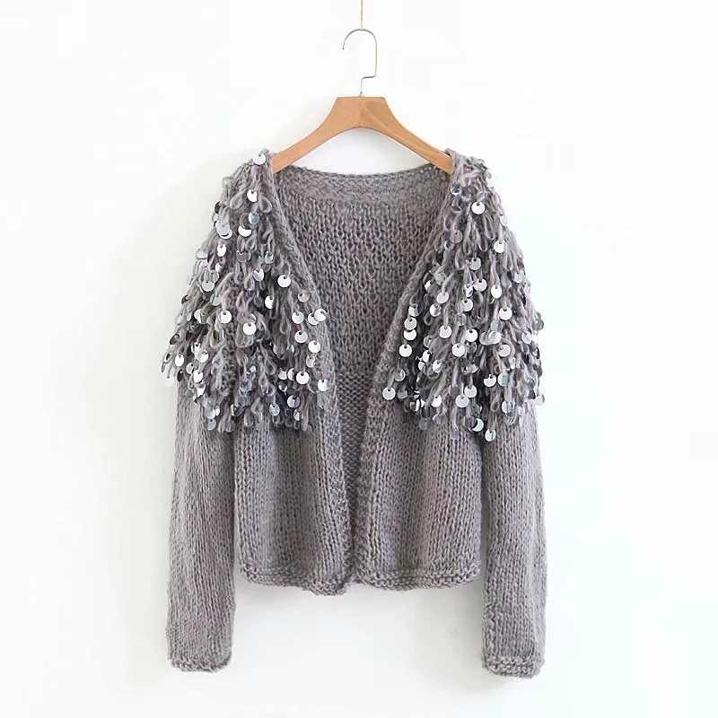 ... Hand Knitted Beading Cardigan Women Fringed Sweater Loose 3D Sequined  Tassels Coat Hollow Wool Circles Fringed cde901948