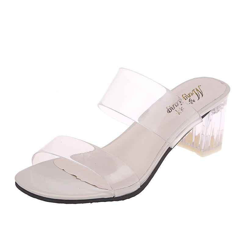 Clear Transparent Slippers Women Shoes Woman Mules Slides New Summer Peep Toe Square High Heels Slippers Female Shoes Plus Size