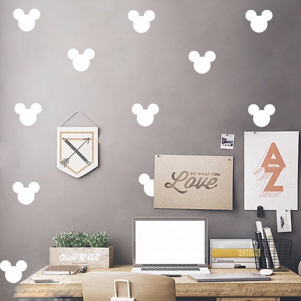 US $8.17 25% OFF Goldene Mickey Maus Kopf Gemusterten Kunst Wandaufkleber  Hause Nette Spezielle Decor Vinyl Wandtattoo Set Gemusterten Wallapper Wm  ...
