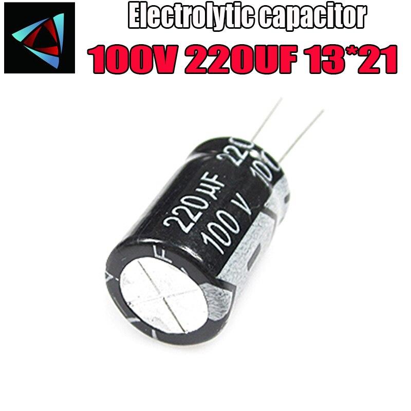 4PCS Higt Quality 100V 220UF 13*21mm 220UF 100V 13*21 Electrolytic Capacitor