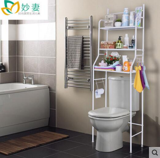 Bathroom storage rack landing multi-layer washing machine non-perforated bathroom