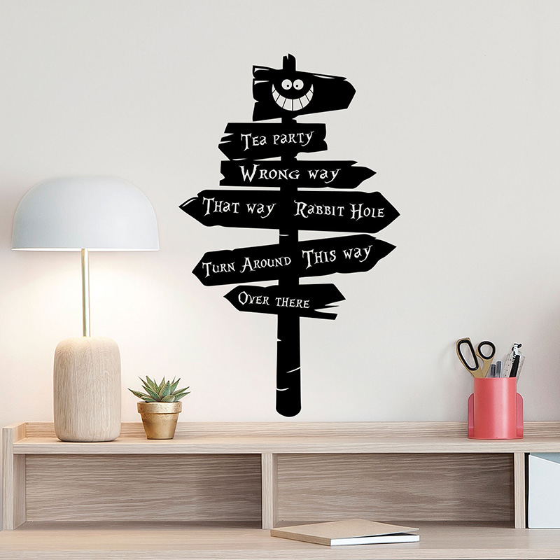Road Sign Kid Wall Sticker Mural Kids Room Decoration Alice In Wonderland Decor Tea Party Vinyl Nursery Quote Bedroom Decor W281 in Wall Stickers from Home Garden