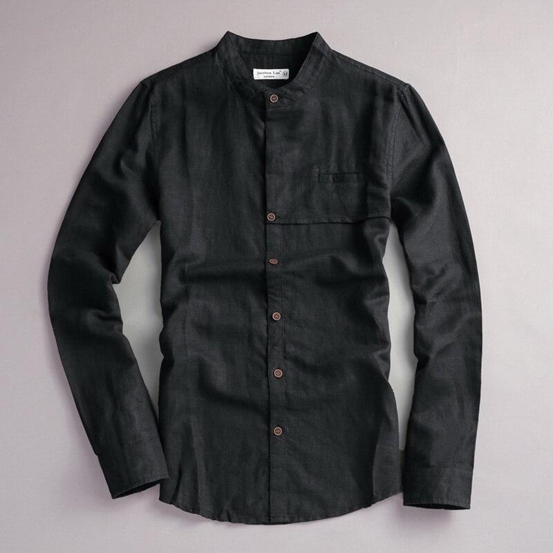 2017 Naturlig langærmet shirt mænd linned hvid stativ krave casual - Herretøj - Foto 6