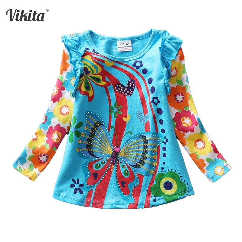 VIKITA T-shirts for Girls Long Sleeve Roupa Infantil Princess Children Cartoon Clothing Kid Children's T-shirts Tops L3916 MIX