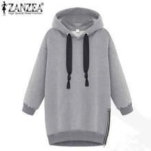Winter Autumn 2016 Zanzea Fashion Women Long Sleeve Hooded Jacket Loose Warm Hoodies Solid Sweatshirt Plus Size 3 Colors
