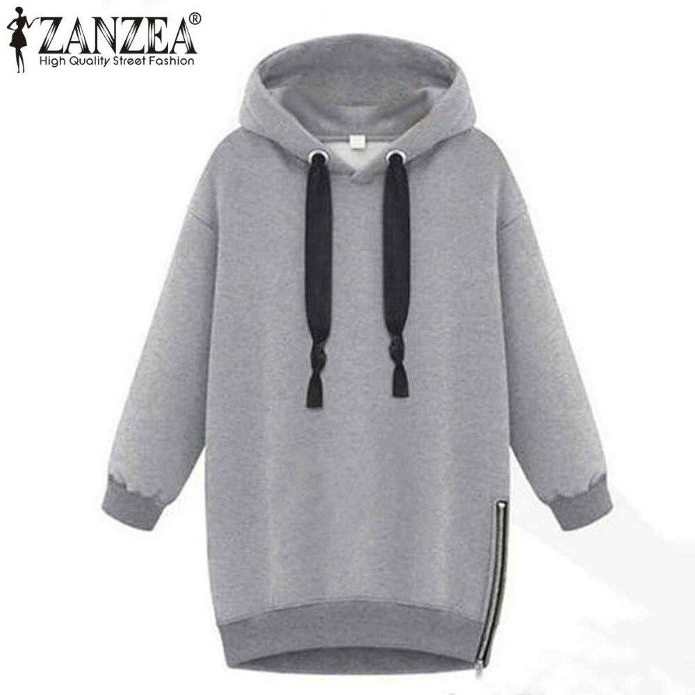 2017 Autumn Winter Zanzea Women Hoodies Long Sleeve Hooded Loose Casual Warm Sweatshirt Oversized Plus Size Sweatshirts