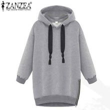 Winter Autumn 2017 Zanzea Fashion Women Long Sleeve Hooded Jacket Loose Warm Hoodies Solid Sweatshirt Plus