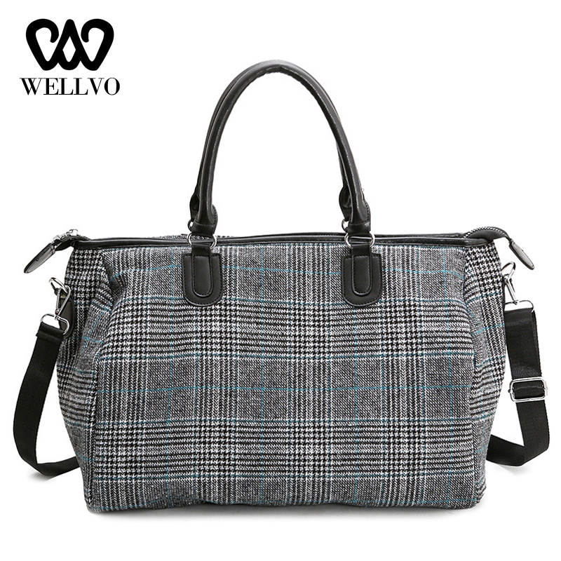 Short Distance Travel Bag Female Portable Bucket Luggage Bag Korean Plaid Overnight Bag Lightweight Duffle Tote Bag XA784WB