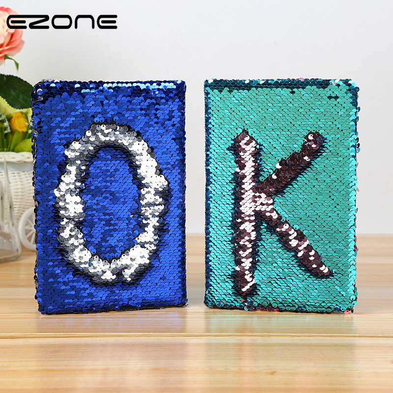 EZONE Cute Candy Color Notebook Kawaii Sequins Diary Note Book Paper Glitter Notepad Traveler Diary DIY School Office Supply ezone cute cartoon notebook printed kawaii cat note book pu cover with hasp nopated traveler journey diary school office supply