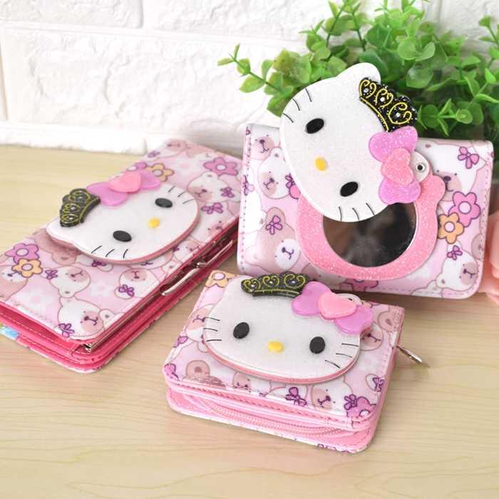 Bonito Dos Desenhos Animados Olá Kitty coelho Carteiras Mulheres carteiras Bolsa de Couro HelloKitty Meninas Bolsa da moeda Da Carteira para as crianças