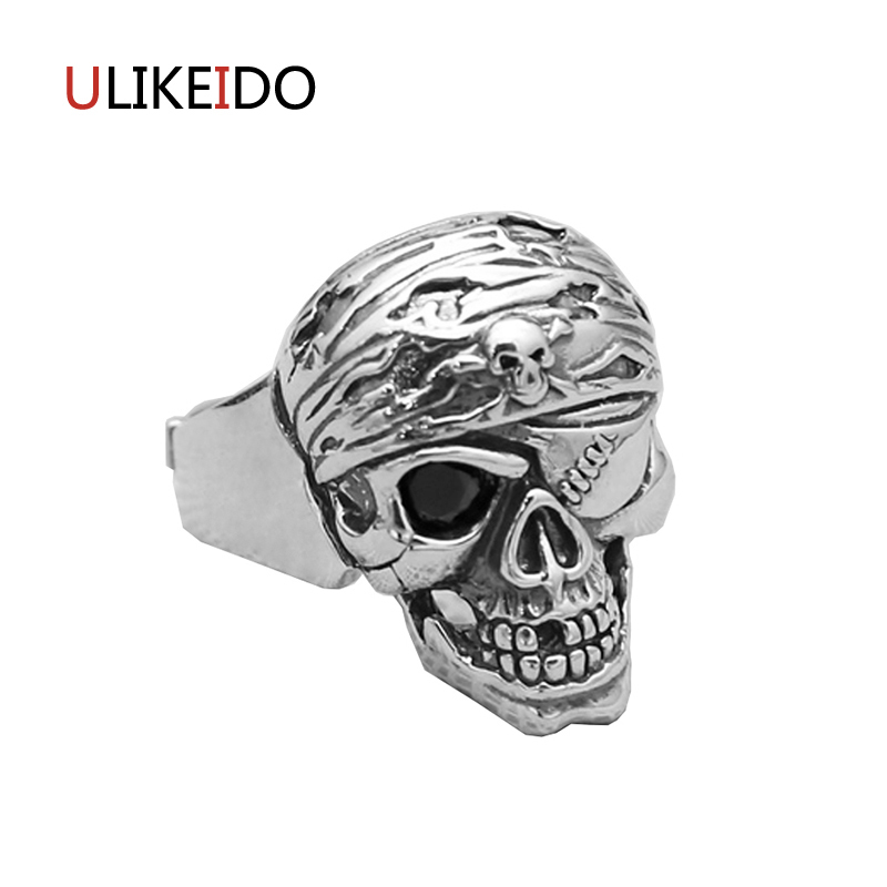 Pure 925 Sterling Silver Jewelry Skull Rings Fashion Skeleton Punk Pirates of the Caribb ...