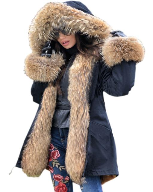 4c2ebbb3b12 Roiii Women s Thicken Warm Luxury Casual Winter Faux Fur Hooded Plus Size  Parka Jacket Coat UK Size 8 10 12 14 16 18 20