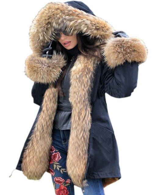 35af3b6f34f Roiii Women s Thicken Warm Luxury Casual Winter Faux Fur Hooded Plus Size Parka  Jacket Coat UK