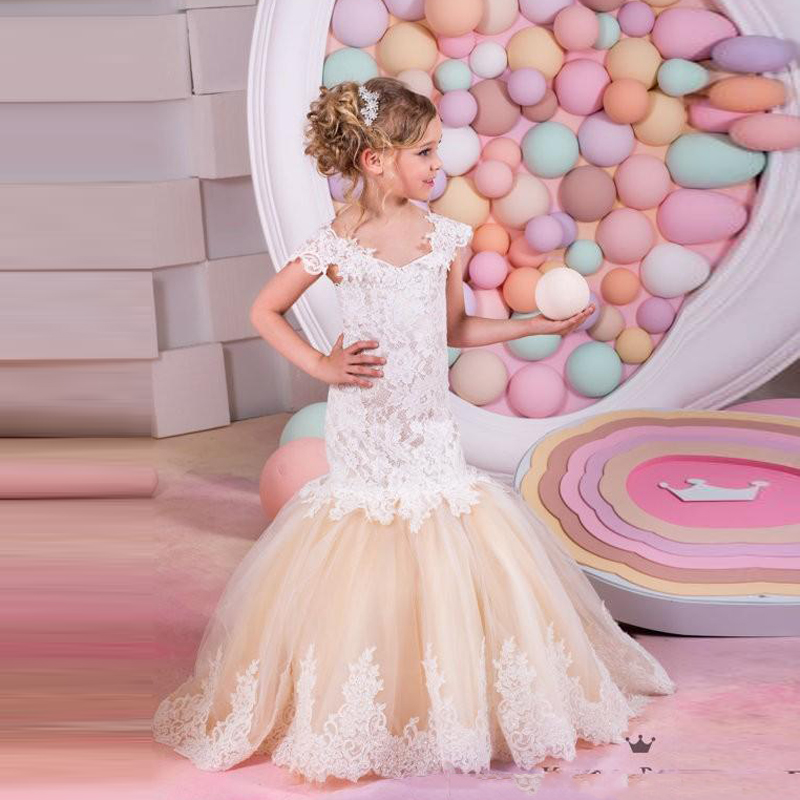 2016 New Lovely Mermaid   Flower     Girl     Dresses   Champagne Tulle Cap Sleeve Lace Applique Chic   Girls   Birthday Party   Dress   Custom Made