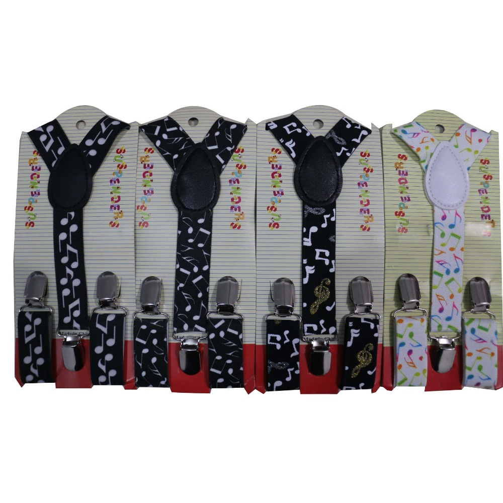 Free Shipping 2019 New Cute Kids Child Toddler Black White Music Note Suspenders For Boys Girls