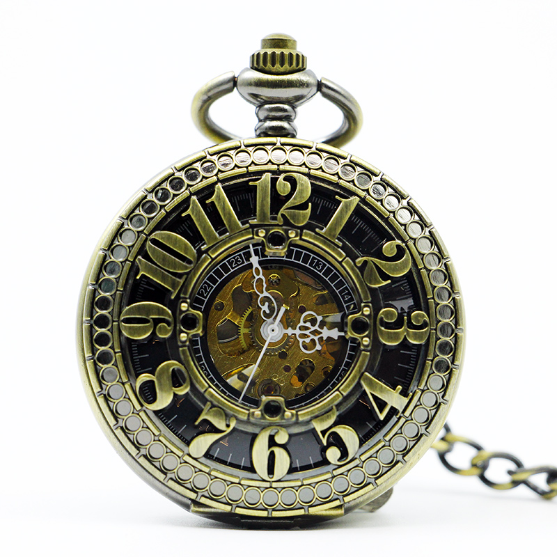 Retro Bronze Hollow Arabic Number Dial Mechanical Pocket Watch Chain Vintage Steampunk Classical Mens Clock Pocket Watch PJX1224