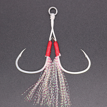 CASTFUN Assist Hook High Carbon Steel Hook Slow Jig With 8 Braided PE line and Feather Saltwater Fishing Hook 2pcs/1Bag