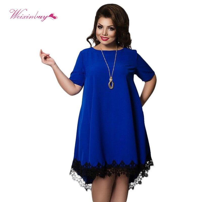 Summer Women Lace Cotton Short Sleeve Dress Female Dresses Fashion Costume Apparel  Vestido Plus Size L-6XL